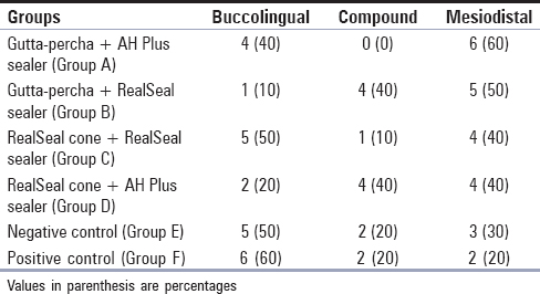 Table 4: Percentage of fractures in various groups